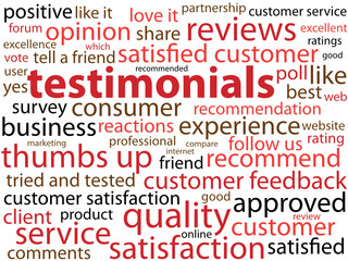 TESTIMONIALS Tag Cloud (button customer satisfaction feedback)