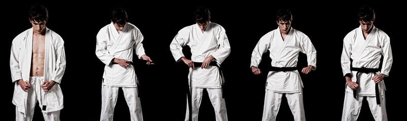 Karate male fighter dressing kimono high contrast composite