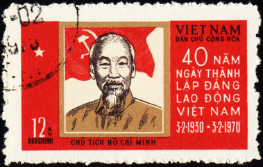 Portrait of Ho Chi Minh on postage stamp