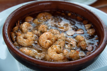 Spanish Tapas - Prawns Fried With Oil And Garlic