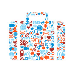 Bag silhouette with media icons set