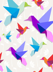 Zelfklevend Fotobehang Geometrische dieren Origami hummingbirds pattern background