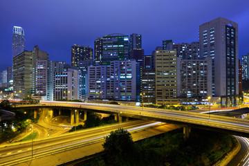 Hong kong downtown with traffic at night