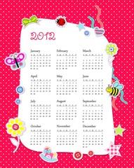 Vector calendar 2012 in girl scrapbook style