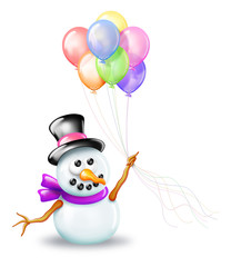 Snowman with Birthday Balloons