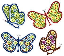 vector beads butterfly's set
