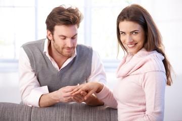 Happy woman having engagement