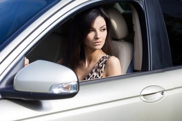 Beautiful woman at the car