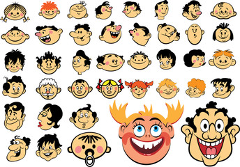 People faces. Cartoon expressions and emotions, avatar icons