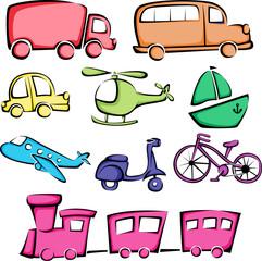 Transportation vehicles icons