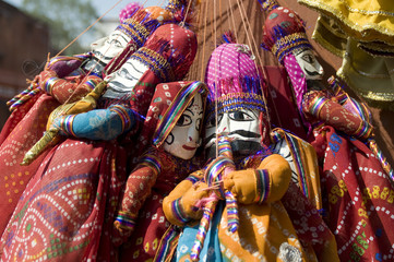 colorful puppets, local bazaar ,Rajasthan, India
