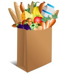 Printed kitchen splashbacks Draw Sacchetto Spesa Cibo Alimentari-Shopping Paper Bag Food