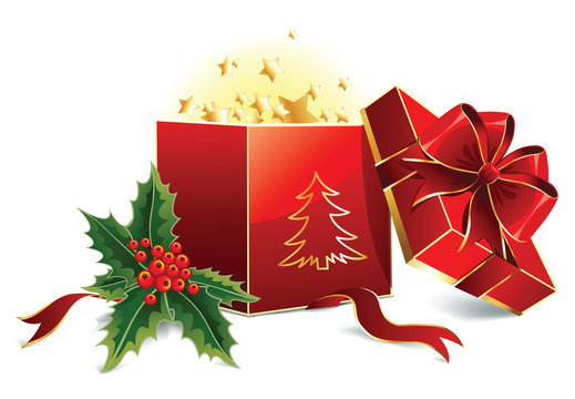 open red christmas box with bow and leaves