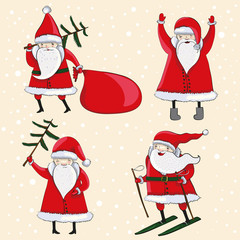 four happy cartoon Santas