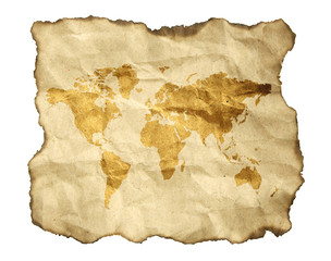 ancient map, isolated on a white background