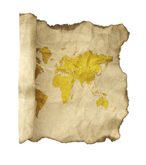 ancient scroll map, isolated on a white background