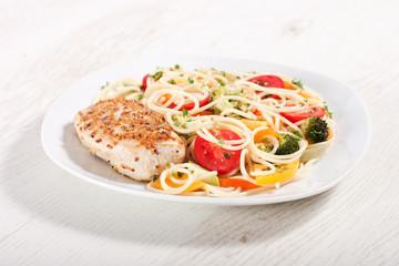 Pasta and chicken breast