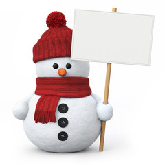 Snowman with woolen hat and signboard