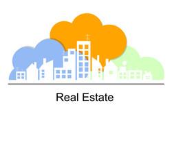 Foto op Plexiglas Blauw Real estate concept with color clouds