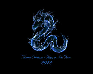2012 is Year of Black Water Dragon: liquid art concept
