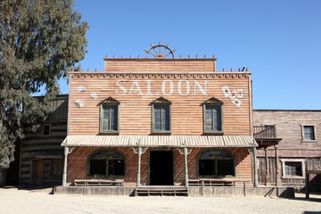 Western style saloon in an old American town