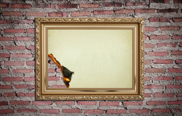 vintage gold frame with burned on wall  background