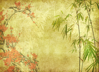 Wall Mural - bamboo and plum blossom on old antique paper texture .