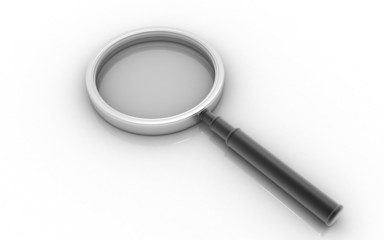 3D magnifying glass on a white background