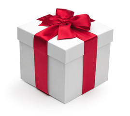 Gift box with red ribbon.