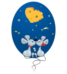 Valentine`s Day concept:  Mouse couple under a cheese moon