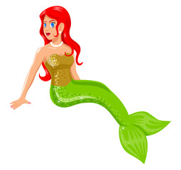 Cartoon illustration of a mermaid