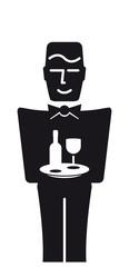 Butler mit Weinglas und Weinflasche auf Tablett