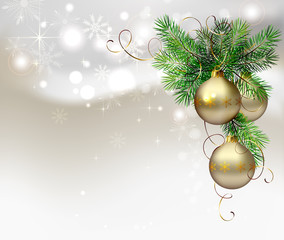 light Christmas background with evening balls and fir tree