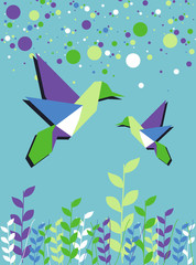 Poster Geometric animals Origami hummingbird couple spring time