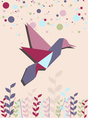 Deurstickers Geometrische dieren Single Origami hummingbird in pink