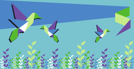 Wall Murals Geometric animals Origami hummingbird spring time