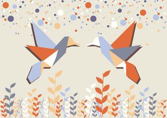 Poster Geometric animals Origami hummingbird couple over beige