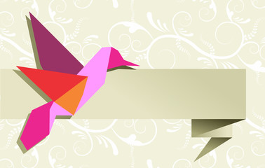 Zelfklevend Fotobehang Geometrische dieren Single Origami hummingbird over floral background