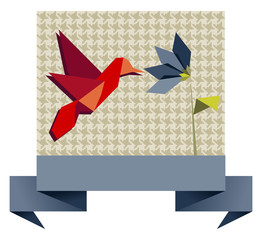 Deurstickers Geometrische dieren Single Origami hummingbird over textile pattern