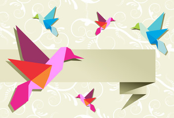 Spoed Fotobehang Geometrische dieren Origami hummingbird group with banner
