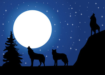 vector wolves howling at the moon