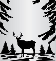 vector deer in the woods