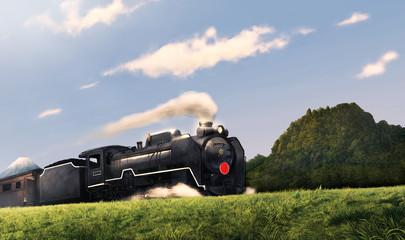 蒸気機関車と山と富士山