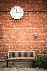 Aluminium Prints Train Station Old clock at trainstation