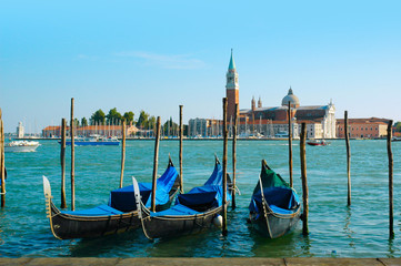 Gondolas with St Georges Island  in Venice Italy