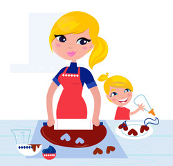 Cute Child helping her Mother with christmas baking..