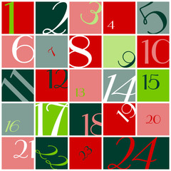 Advent Calendar Numbers Red/Light & Dark Green/White