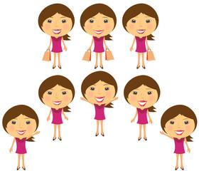 set cartoon smiling girl in pink dress