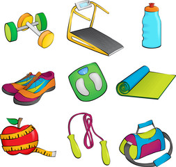 Exercise equipment icons