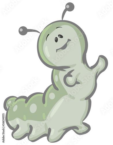 Clipart Illustration of a Cute Green Caterpillar Character